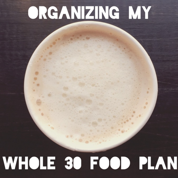 organizing whole 30 food plan